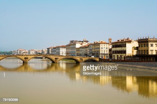 Bridge over a river, Ponte Alle Grazie, Arno River, Florence, Tuscany, Italy : Stock Photo