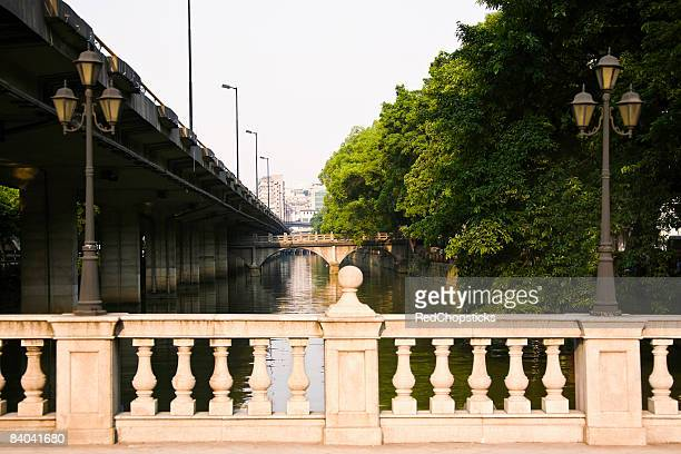 Bridge over a river, Shamian Island, Guangzhou, Guangdong Province, China