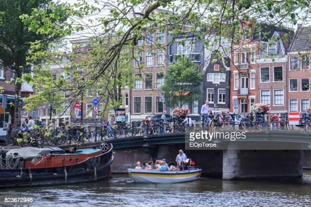 Bridge over Amsterdam's canal, Netherlands