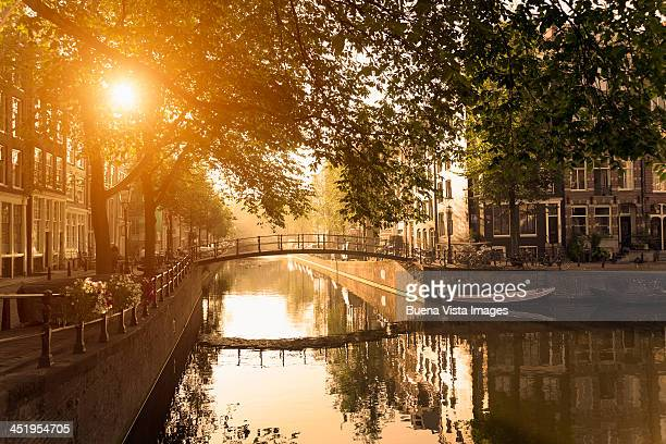 Bridge over Brouwersgracht canal at sunset