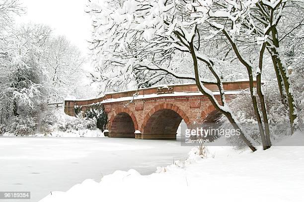 Bridge over frozen lake