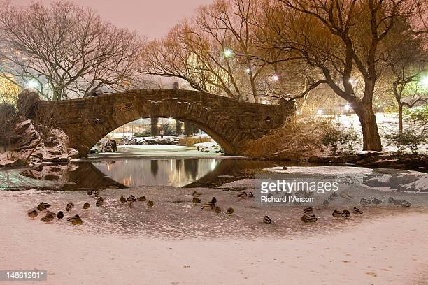 Bridge over ice covered pond at dusk in Central Park in winter.
