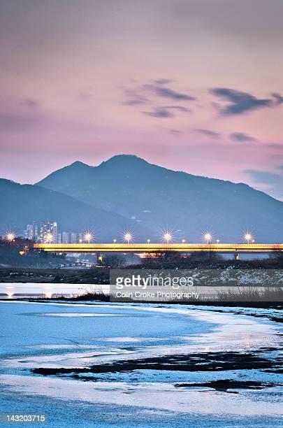 Bridge over Nakdong River at night