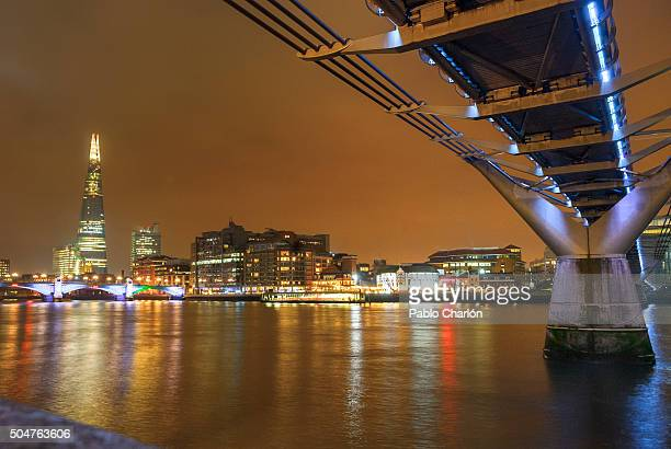 Bridge over river with city skyline at dusk