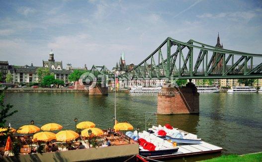 Bridge Over The Main River With Floating Cafe Frankfurt Germany - Frankfurt river