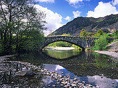 Pack horse bridge over the River Derwent at Grange in Borrowdale, near Keswick in the English Lake District