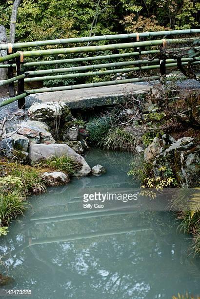 Bridge over water with Bamboo railings