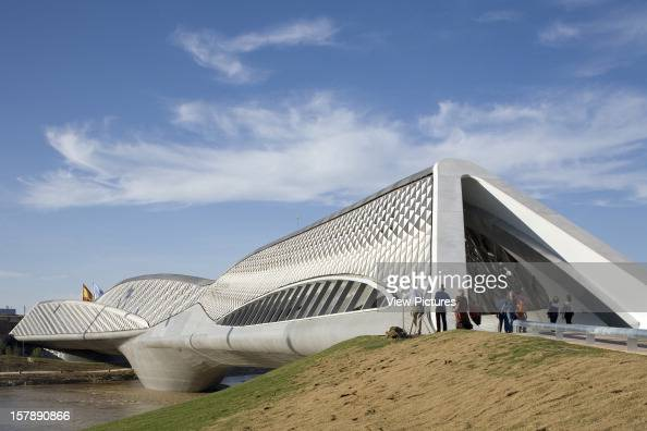 Bridge Pavilion 2008 Expo Zaragoza Zaragoza Spain Architect Zaha Hadid Zaragoza Bridge Pavilion Late Afternoon Sun Viewed From The South Bank Of The...