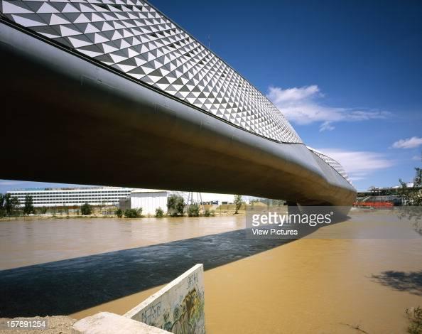 Bridge Pavilion 2008 Expo Zaragoza Zaragoza Spain Architect Zaha Hadid Zaragoza Bridge Pavilion Lateral View With River
