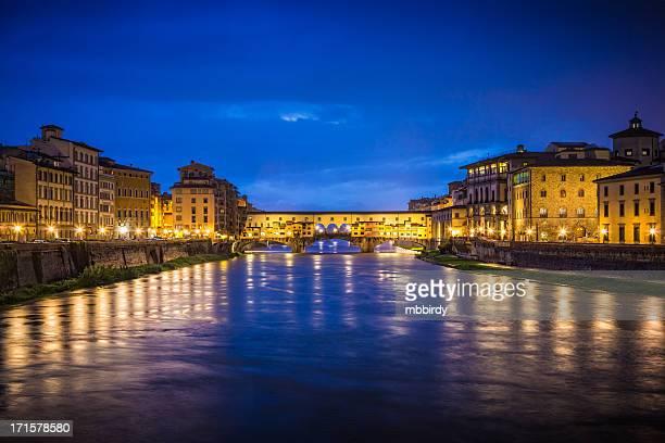 Bridge Ponte Vecchio at dusk, Florence, Tuscany, Italy