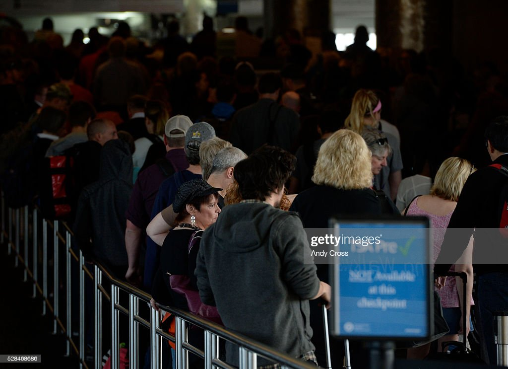 Bridge security screening lines at Denver International Airport May 05, 2016.