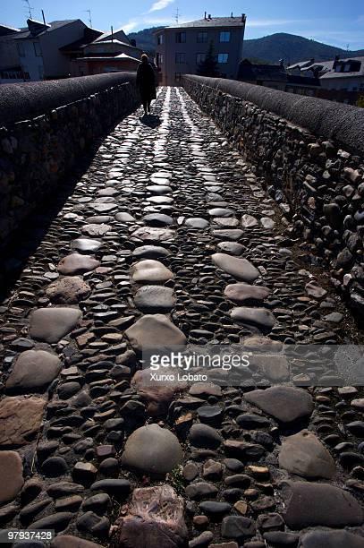 bridge stone over the river Cua in Vega of espinareda Bierzo Castilla y Leon region 16th November 2007