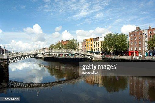 A bridge with a reflex in the water in a river in Dublin