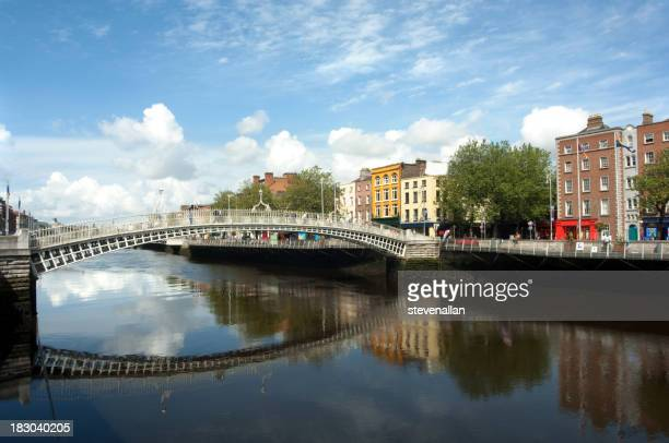 A bridge with a reflex in the water in a river in Dublin