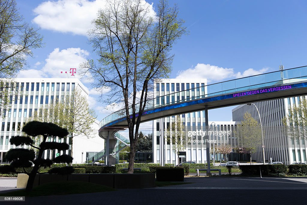 A bridge with a sign that reads 'The game in the fight against dementia' connects the buildings of the Deutsche Telekom headquarters on May 04, 2016 in Bonn, Germany.