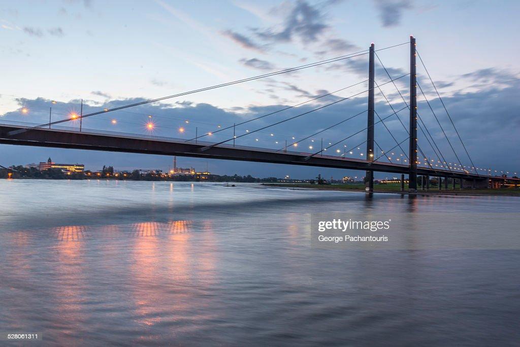 Bridge with lights over Rhine river