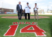 Bridgeport Mayor Bill Finch and Bridgeport Bluefish General Manager Ken Shephard stand with former Major League Baseball player Pete Rose as he...