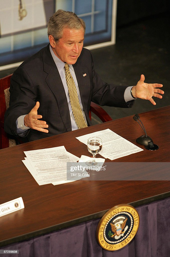 US President <a gi-track='captionPersonalityLinkClicked' href=/galleries/search?phrase=George+W.+Bush&family=editorial&specificpeople=122011 ng-click='$event.stopPropagation()'>George W. Bush</a> speaks during a town hall style meeting on Health Savings Accounts 05 April, 2006 at the Playhouse on the Green in Bridgeport, Connecticut.