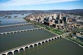 Bridges across river in Harrisburg, Pennsylvania