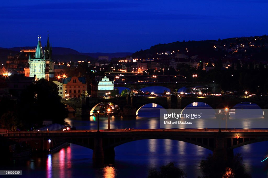 Bridges at night on Vltava Prague Czech Republic : Stock Photo