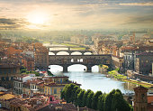View on the bridges of Florence at sunrise