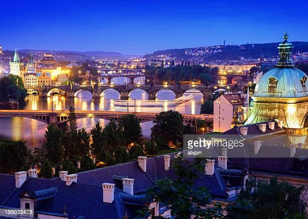 Bridges of Vltava river at twilight, Prague