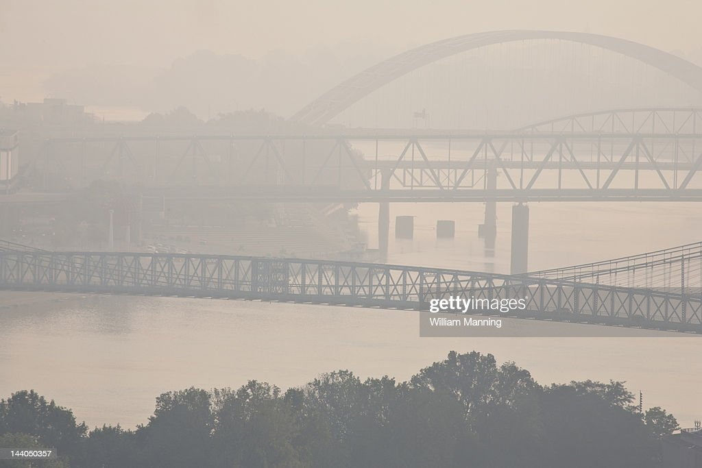 Bridges over the Ohio River, early morning : Stock Photo