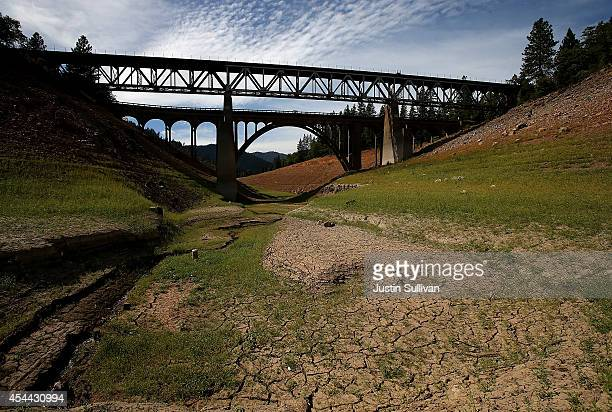 Bridges span a dry inlet of Shasta Lake on August 30 2014 in Lakehead California As the severe drought in California continues for a third straight...