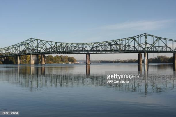Bridges spanning across the Ohio River are seen between West Virginia and Ohio seen from Parkersburg West Virginia on October 27 2017 US President...