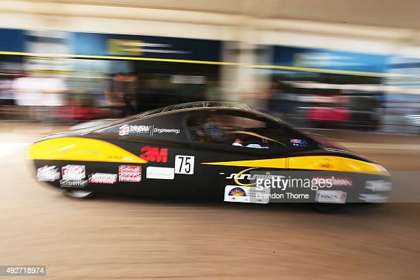 Bridgestone ambassador Shane Jacobson departs with the UNSW Solar Racing Team Sunswift during the 2015 Bridgestone World Solar Challenge at Darwin...