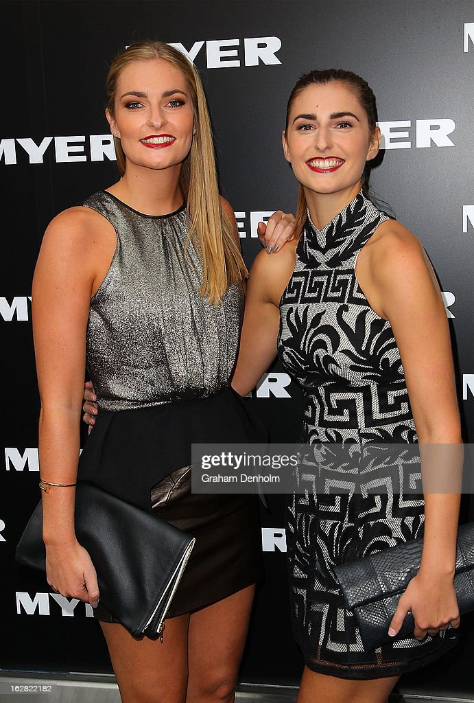 Bridget Abbott and Frances Abbott arrive at the Myer Autumn/Winter 2013 collections launch at Mural Hall at Myer on February 28, 2013 in Melbourne, Australia.