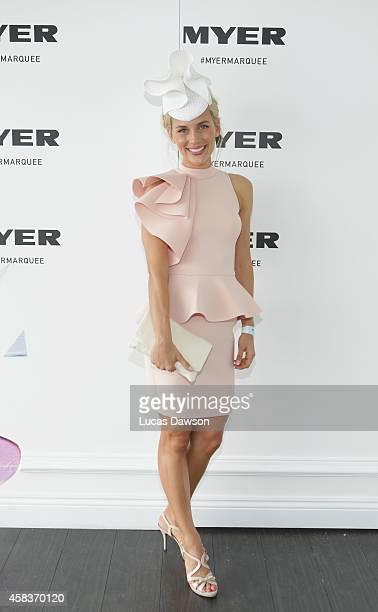 Bridget Hall at the Myer Marquee on Melbourne Cup Day at Flemington Racecourse on November 4 2014 in Melbourne Australia