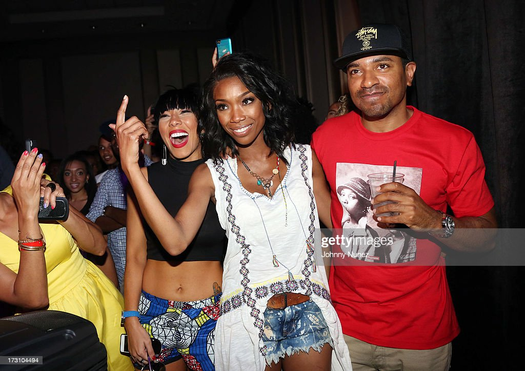 Bridget Kelly, <a gi-track='captionPersonalityLinkClicked' href=/galleries/search?phrase=Brandy+Norwood&family=editorial&specificpeople=202122 ng-click='$event.stopPropagation()'>Brandy Norwood</a>, and Ryan Press attend the Essence Day party at the W New Orleans on July 6, 2013 in New Orleans, Louisiana.