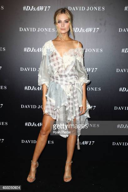 Bridget Malcolm arrives ahead of the David Jones Autumn Winter 2017 Collections Launch at St Mary's Cathedral Precinct on February 1 2017 in Sydney...