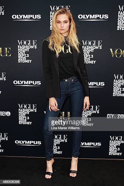 Bridget Malcolm arrives at Vogue Fashion's Night Out on September 3 2015 in Sydney Australia