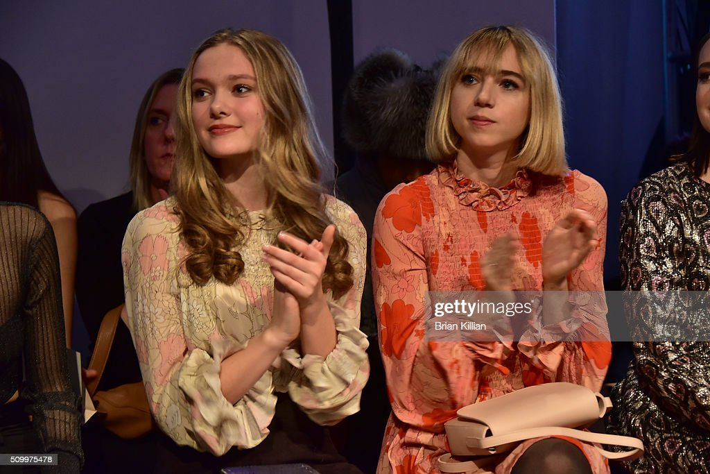 Bridget McGarry and <a gi-track='captionPersonalityLinkClicked' href=/galleries/search?phrase=Zoe+Kazan&family=editorial&specificpeople=3953779 ng-click='$event.stopPropagation()'>Zoe Kazan</a> watch the Jill Stuart Fall 2016 show from Front Row during New York Fashion Week at Industria Superstudio on February 13, 2016 in New York City.