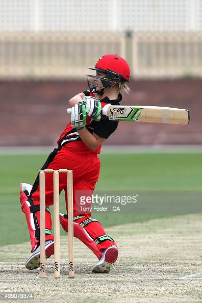 Bridget Patterson of SA Scorpions plays a shot during the WNCL Final match between the New South Wales and South Australia at Hurstville Oval on...