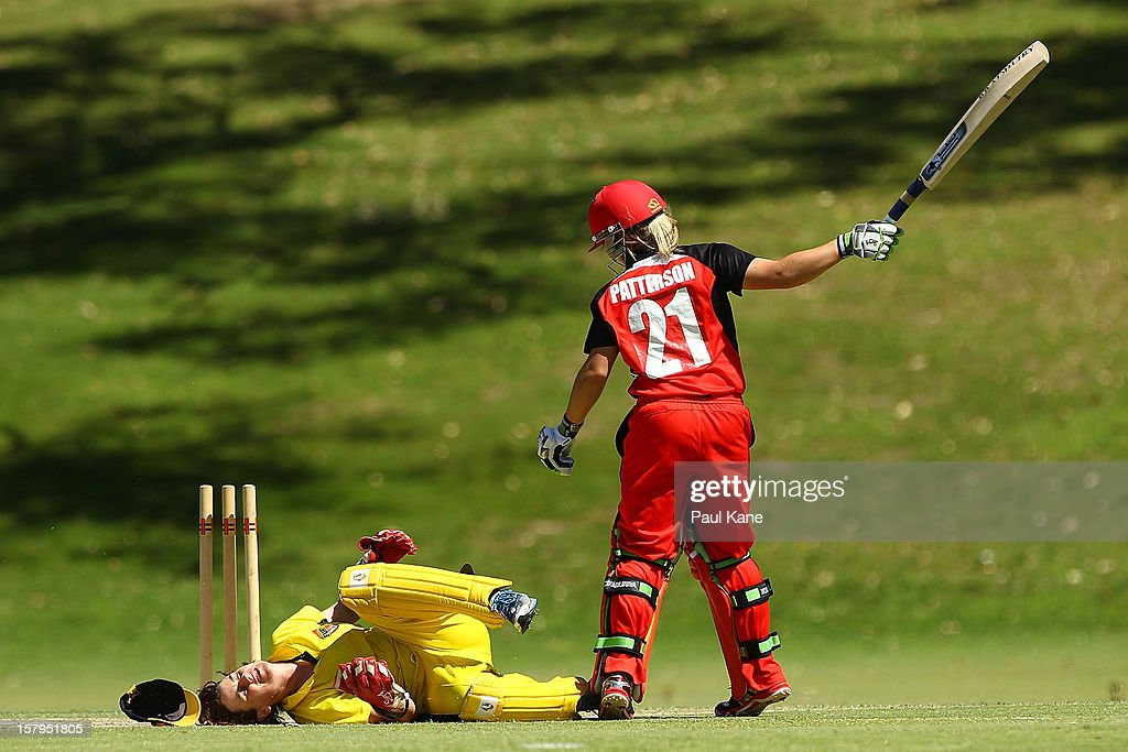 Bridget Patterson of the Scorpions reacts after being run out by Jenny Wallace of the Fury during the WNCL match between the Western Australia Fury and the South Australia Scorpions at on December 8, 2012 in Perth, Australia.