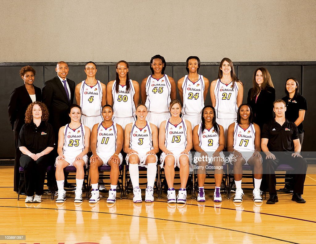 Bridget Pettis, Assistant Coach, Head Coach, Corey Gaines, Candice Dupree #4, Tangela Smith #50, Kara Braxton #45, DeWanna Bonner #24, Brooke Smith #21. Julie Hairgrove, Assistant Coach and Equipment Manager, Denise Romero. (Front Row L-R) Tamara Poole, Athletic Trainer, Taylor Lilley #23, Ketia Swanier #11, Diana Taurasi #3, Penny Taylor #13, Temeka Johnson #2, Sequoia Holmes #17 and Ben Hadley, Strength and Conditioning Coach of the Phoenix Mercury takes their 2010 team photo on September 5, 2010 at their practice facility at US Airways Center in Phoenix, Arizona.