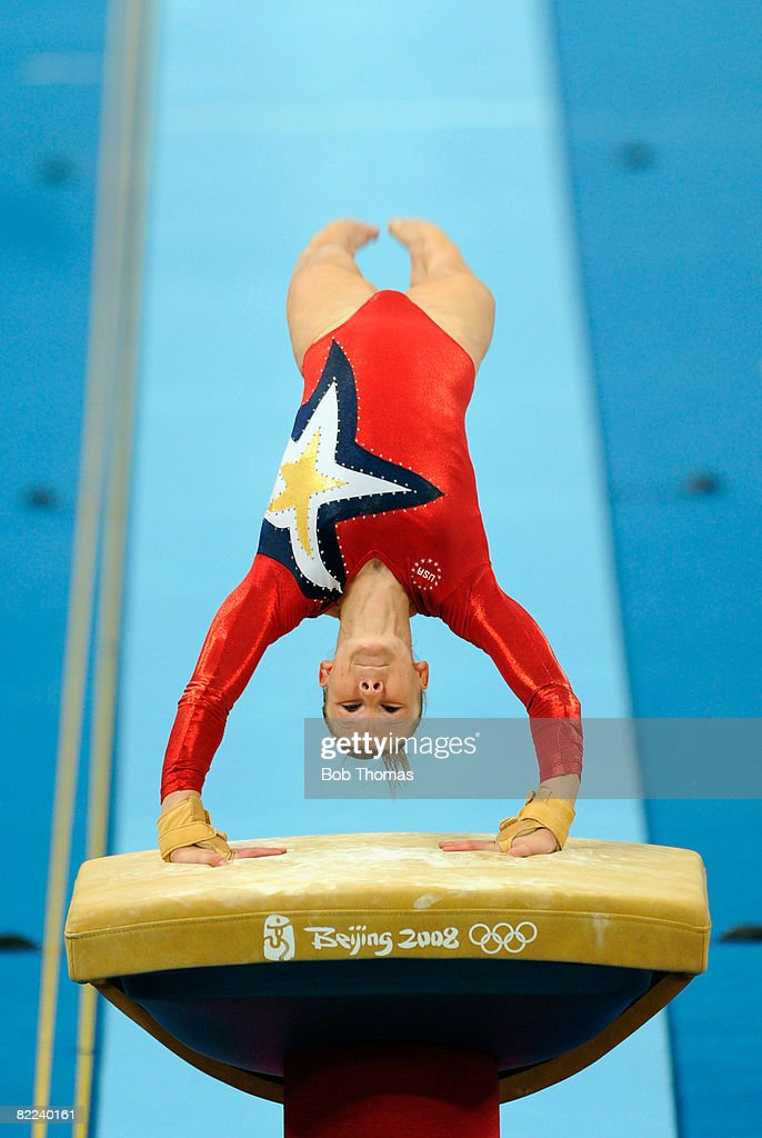 Bridget Sloan of the USA performs on the vault during qualification for the women's artistic gymnastics event held at the National Indoor Stadium during Day 2 of the 2008 Summer Olympic Games on August 10, 2008 in Beijing, China.