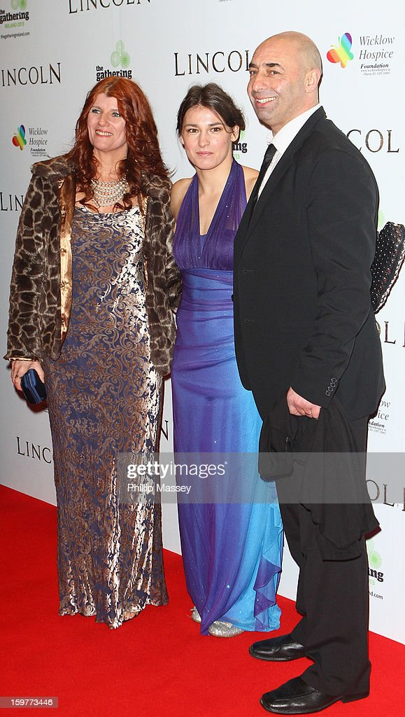 Bridget Taylor, Katie Taylor and Pete Taylor attend the European premiere of 'Lincoln' on January 20, 2013 in Dublin, Ireland.