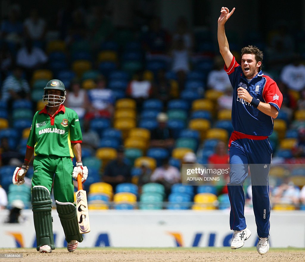 England's James Anderson runs in to celebrate after taking the wicket of Mohammad Ashraful of Bangladesh during their SuperEight Cricket World Cup...