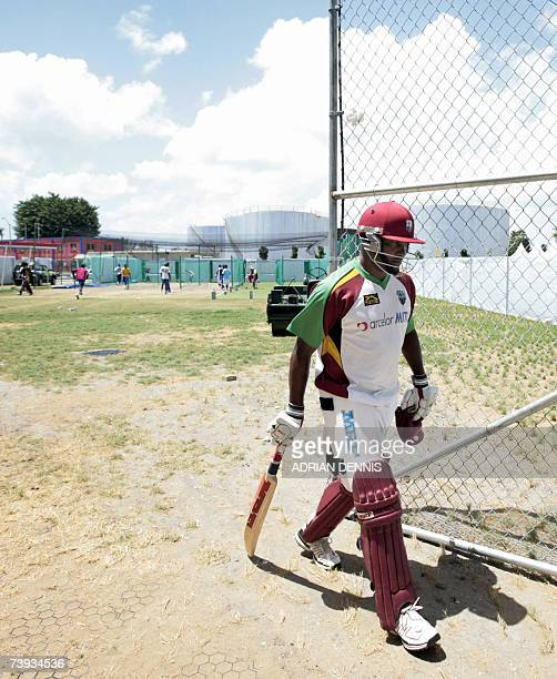West Indies Captain Brian Lara walks out of the batting nets following team training at the Kensington Oval in Bridgetown Barbados 20 April 2007 The...