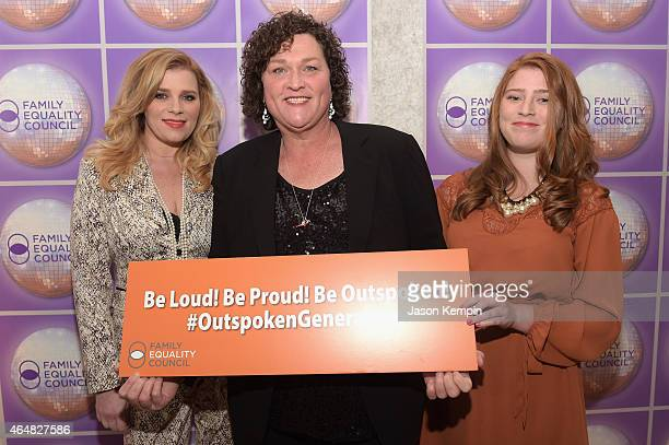 Bridgett Casteen actress DotMarie Jones and Savannah Parham attend the Family Equality Council's 2015 Los Angeles Awards dinner at The Beverly Hilton...