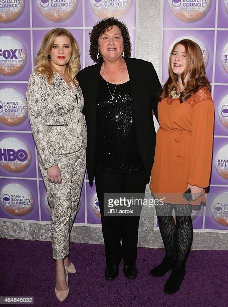 Bridgett Casteen actress DotMarie Jones and Savannah Parham attend the Family Equality Council's Los Angeles Awards Dinner held at the Beverly Hilton...