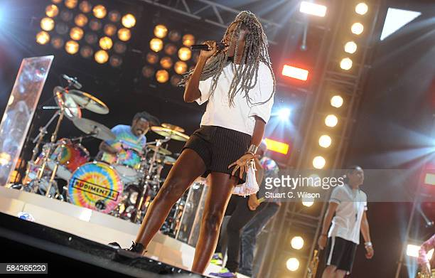 Bridgette Amofah of Rudimental performs during 'MTV Crashes' at Plymouth Hoe on July 28 2016 in Plymouth England