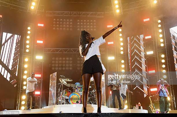 Bridgette Amofah of Rudimental performs on stage at MTV Crashes Plymouth at Plymouth Hoe on July 28 2016 in Plymouth England