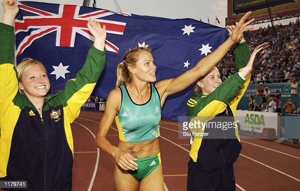 Bridgid Isworth Tatiana Grigorieva and Kym Howe of Australia celebrate after taking all three medals in the Women's Pole Vault at the City of...