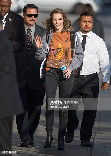 Bridgit Mendler is seen at 'Jimmy Kimmel Live' on March 03 2015 in Los Angeles California