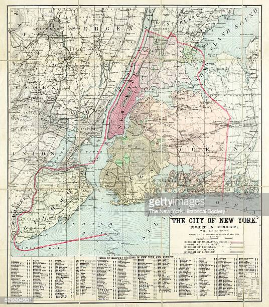Bridgman's new map of the City of New York divided in boroughs with its environs 1898 Black and color ink on paper backed with cloth by Bridgman EC